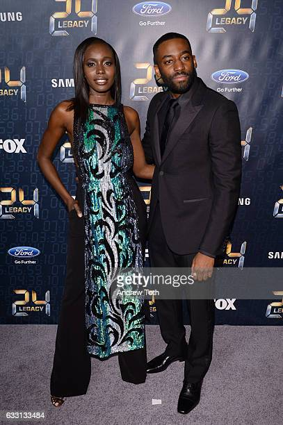 Anna Diop and Ashley Thomas attend the '24 LEGACY' premiere at Spring Studios on January 30 2017 in New York City