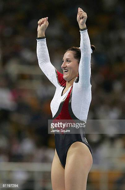 Anna Dogonadze of Germany celebrates during the women's trampoline final on August 20 2004 during the Athens 2004 Summer Olympic Games at the Olympic...