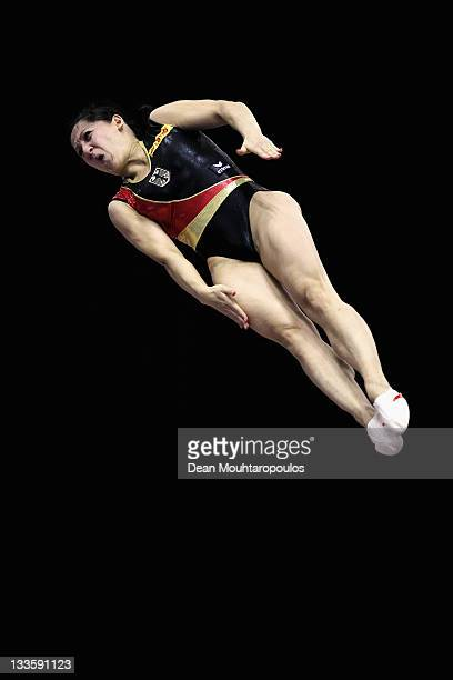Anna Dogonadze of Germany competes in the Individual Trampoline Womens Final during the 28th Trampoline and Tumbling World Championships at National...