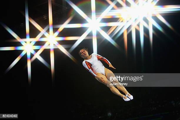 Anna Dogonadze of Germany competes in the trampoline womens final gymnastics event at the National Indoor Stadium on Day 10 of the Beijing 2008...