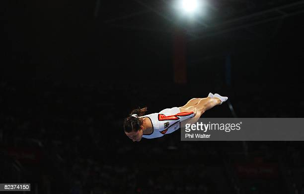 Anna Dogonadze of Germany competes in the Women's Trampoline Qualification at the National Indoor Stadium on Day 8 of the Beijing 2008 Olympic Games...