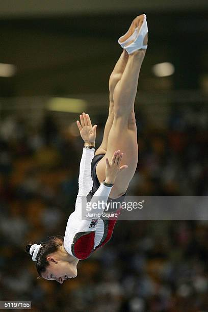 Anna Dogonadze of Germany competes in the women's trampoline final on August 20 2004 during the Athens 2004 Summer Olympic Games at the Olympic...