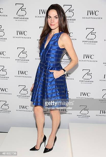 Anna Drijver visits the IWC booth during the Salon International de la Haute Horlogerie 2015 at the Palexpo on January 20 2015 in Geneva Switzerland
