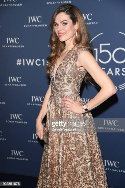 Anna Drijver walks the red carpet for IWC Schaffhausen at SIHH 2018 on January 16 2018 in Geneva Switzerland
