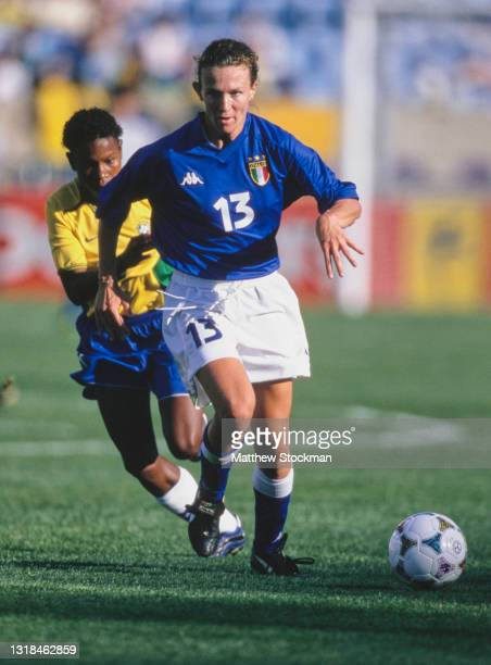 Anna Duo, Defender for Italy during the Group B match of the FIFA Women's World Cup against Brazil on 24th June 1999 at Soldier Field in Chicago,...
