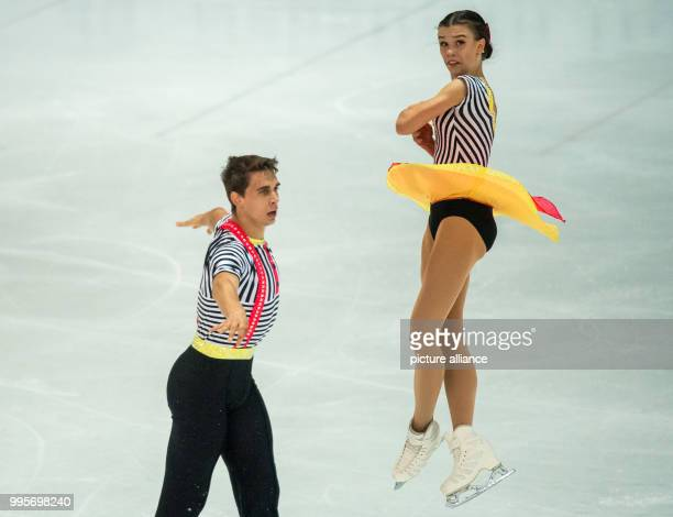 Anna Duskova and Martin Bida of Czech Republic in action during the free pair skating of the Challenger Series Nebelhorn Trophy figure skating...