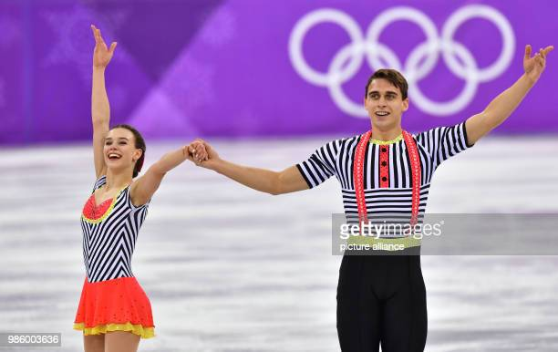 Anna Duskova and Martin Bidar from the Czech Republic in action during the figure skating free skate event of the 2018 Winter Olympics in the...