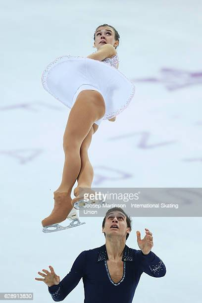Anna Duskova and Martin Bidar of Czech Republic compete during Junior Pairs Free Skating on day three of the ISU Junior and Senior Grand Prix of...