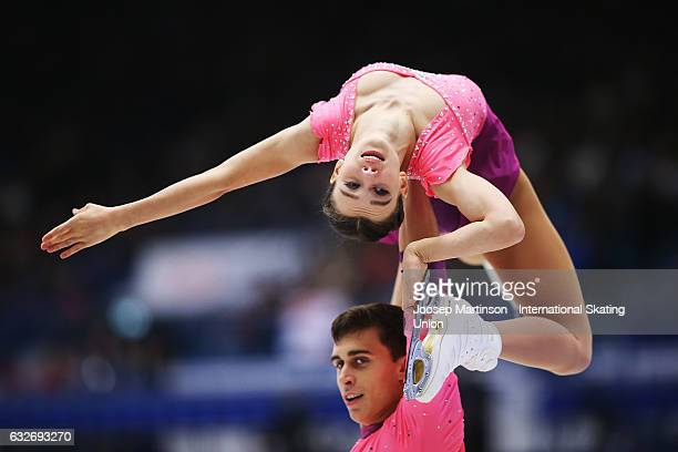 Anna Duskova and Martin Bidar of Czech Republic compete in the Pairs Short Program during day 1 of the European Figure Skating Championships at...