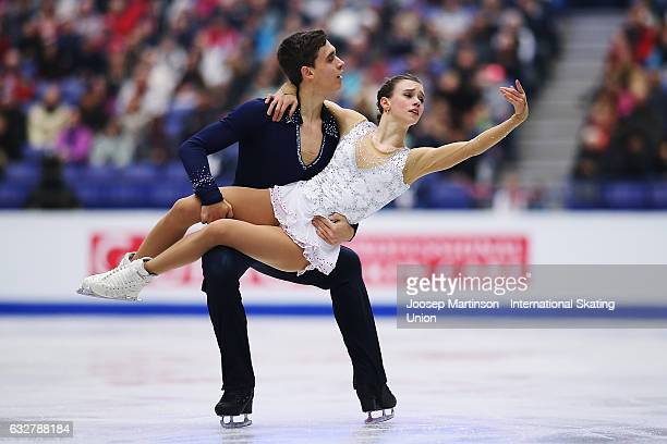 Anna Duskova and Martin Bidar of Czech Republic compete in the Pairs Free Skating during day 2 of the European Figure Skating Championships at...