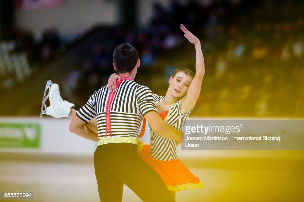 Anna Duskova and Martin Bidar of Czech Republic compete in the Pairs Free Skating during the Nebelhorn Trophy 2017 at Eissportzentrum on September 29...