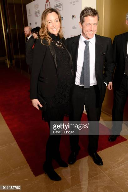 Anna Eberstein and Hugh Grant attend London Film Critics' Circle Awards 2018 at The Mayfair Hotel on January 28 2018 in London England