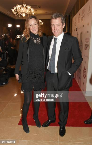 Anna Eberstein and Hugh Grant attend the London Film Critics' Circle Awards 2018 at The May Fair Hotel on January 28 2018 in London England