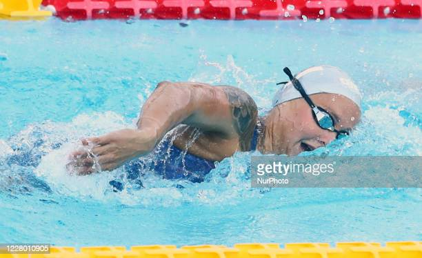 Anna Egorova competes in the women's 400m freestyle during the international swimming trophy Frecciarossa Settecolli in Rome Italy on August 12 2020