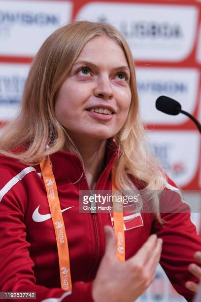 Anna Emilie Moller of Denmark speak during a press conference ahead of the European Cross Country at the Pacos do Concelho Lisbon Town Hall on...