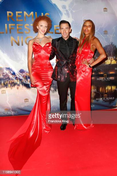 Anna Ermakova Marcel Remus and her mother Angela Ermakova during the Remus Lifestyle Night on August 1 2019 in Palma de Mallorca Spain