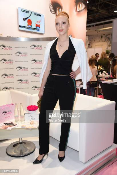 Anna Ermakova visits 'Miss Lashes' lashes lounge at the Beauty Top Hair Fair on April 1 2017 in Duesseldorf Germany