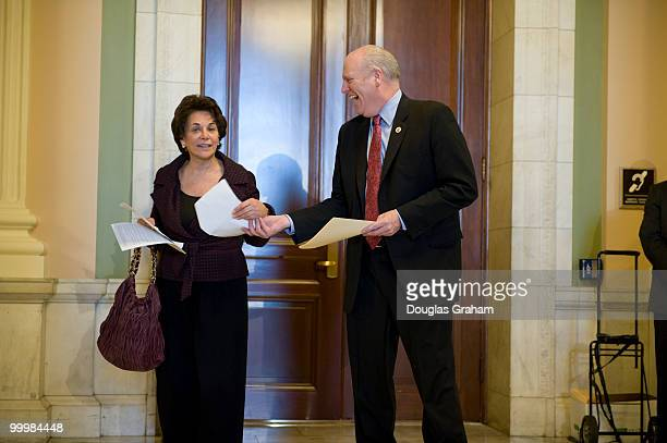 Anna Eshoo DCA and Joe Crowley DNY talk and share a laugh just outside the Democratic Caucus in the Cannon House Office Building March 19 2010