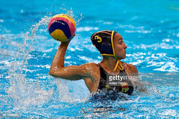 Anna Espar Llaquet of Spain in action during the Women's Water Polo 5th 6th Classification match between Australia and Spain on Day 14 of the Rio...