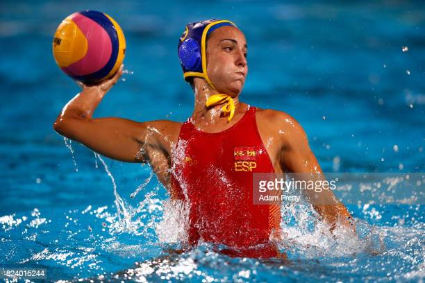 Anna Espar Llaquet of Spain in action during the Women's Water Polo gold medal match between the United States and Spain on day fifteen of the...