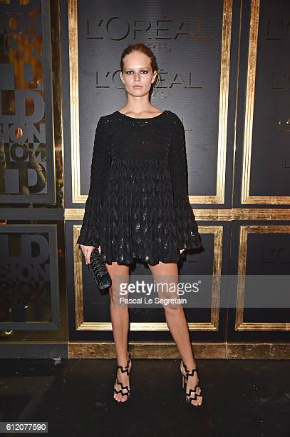 Anna Ewers attends the Gold Obsession Party L'Oreal Paris Photocall as part of the Paris Fashion Week Womenswear Spring/Summer 2017 on October 2 2016...