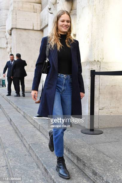 Anna Ewers attends the Versace show at Milan Fashion Week Autumn/Winter 2019/20 on February 22 2019 in Milan Italy