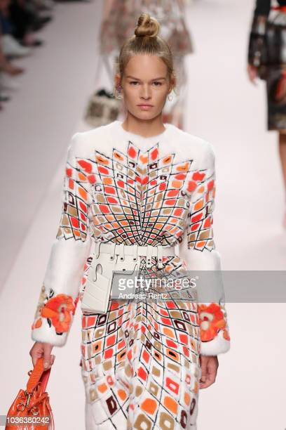 Anna Ewers walks the runway at the Fendi show during Milan Fashion Week Spring/Summer 2019 on September 20 2018 in Milan Italy