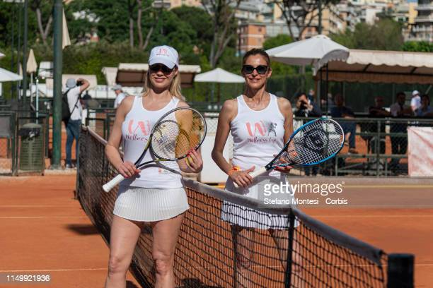 """Anna Falchi and Adriana Volpe attends in the first edition of the """"Wellness cup"""" at the Tennis Club Parioli on June 13, 2019 in Rome, Italy. The..."""