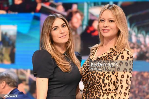 Anna Falchi and Eleonora Pedron guest during tv broadcast quotQuelli che il calcioquot tv program on air all sunday on second channel of italian...