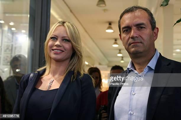 Anna Falchi and Mayor Luigi De Magistris during the inauguration of salon Bomboniera del Regalo e della Casa