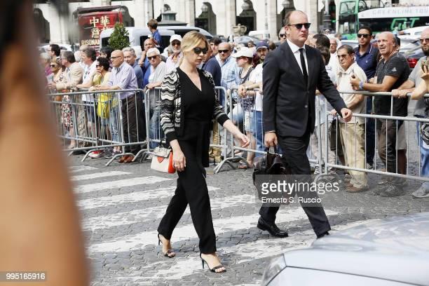 Anna Falchi attends the funeral for Carlo Vanzina at Santa Maria degli Angeli on July 10 2018 in Rome Italy