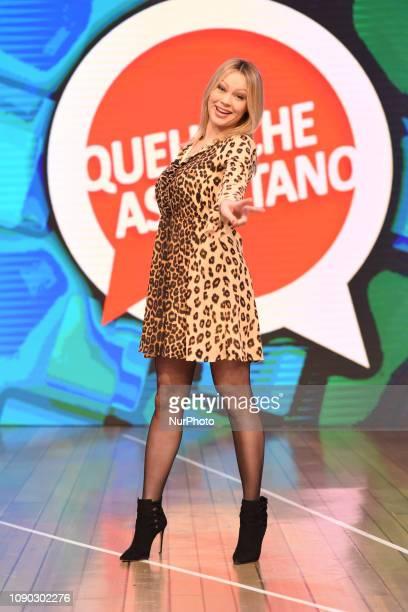 Anna Falchi guest during tv broadcast quotQuelli che il calcioquot tv program on air all sunday on second channel of italian public Tv Rai2