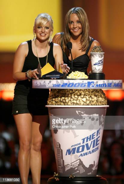 Anna Faris and Amanda Bynes presenters during 2006 MTV Movie Awards Show at Sony Studios in Culver City California United States