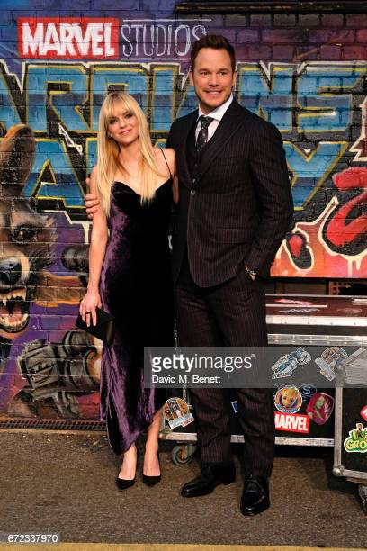 """Anna Faris and Chris Pratt attend the European Gala screening of """"Guardians of the Galaxy Vol. 2"""" at the Eventim Apollo on April 24, 2017 in London,..."""