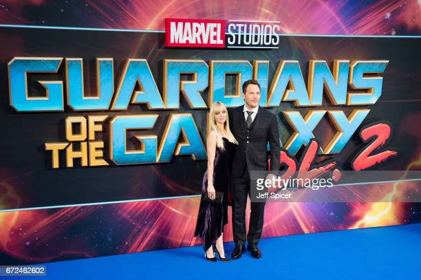 Anna Faris and Chris Pratt attend the European Gala Screening of Guardians of the Galaxy Vol 2 at Eventim Apollo on April 24 2017 in London United...