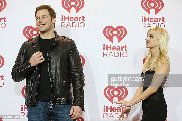 Anna Faris and Chris Pratt attend the iHeart Radio Music Festival night 2 press room held at MGM Grand Resort and Casino on September 20 2014 in Las...