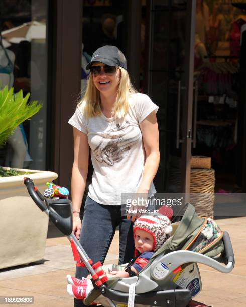 Anna Faris and her son Jack Pratt are sighted at The Grove on June 4 2013 in Los Angeles California