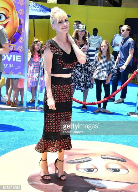 Anna Faris arrives at the Premiere Of Columbia Pictures And Sony Pictures Animation's 'The Emoji Movie' at Regency Village Theatre on July 23 2017 in...