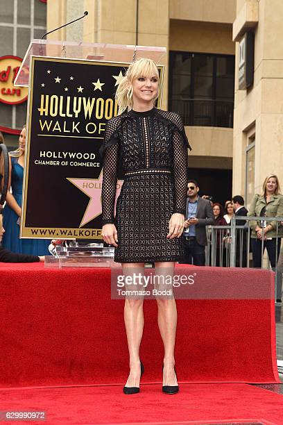 Anna Faris attends a ceremony honoring actor Ryan Reynolds with Star on the Hollywood Walk Of Fame on December 15 2016 in Hollywood California