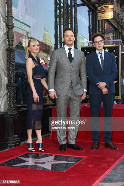 Anna Faris Chris Pratt and James Gunn attend a Ceremony Honoring Chris Pratt With Star On The Hollywood Walk Of Fame on April 21 2017 in Hollywood...