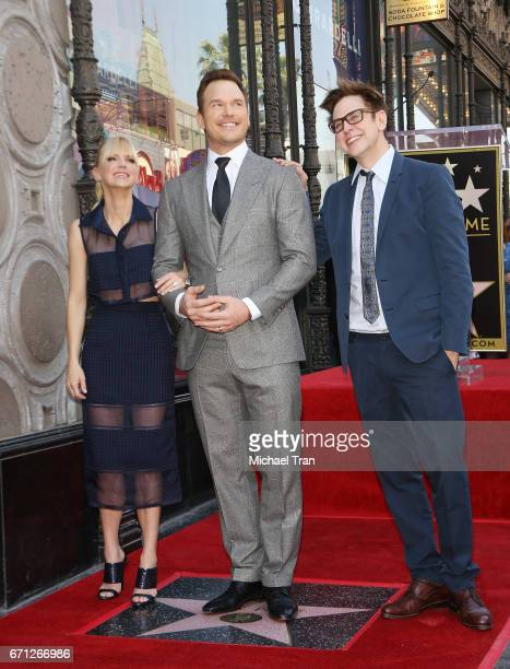 Anna Faris Chris Pratt and James Gunn attend the ceremony honoring Chris Pratt with a Star on The Hollywood Walk of Fame held on April 21 2017 in...