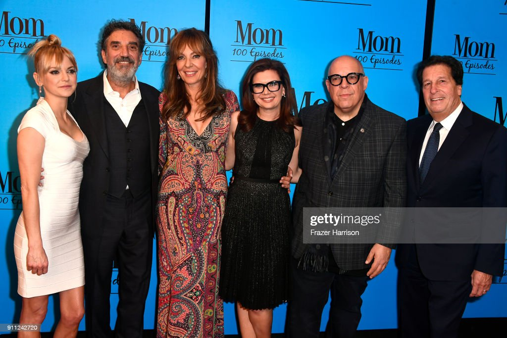 Anna Faris, Chuck Lorre, Allison, Gemma Baker, Eddie Gorodetsky, Peter Roth attend CBS And Warner Bros. Television's 'Mom' Celebrates 100 Episodes at TAO Hollywood on January 27, 2018 in Los Angeles, California.