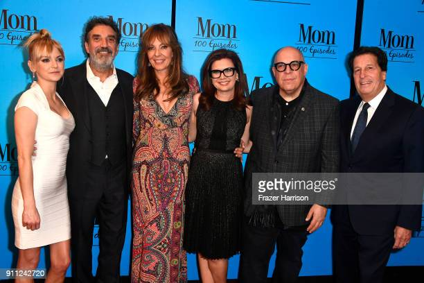 Anna Faris Chuck Lorre Allison Gemma Baker Eddie Gorodetsky Peter Roth attend CBS And Warner Bros Television's 'Mom' Celebrates 100 Episodes at TAO...