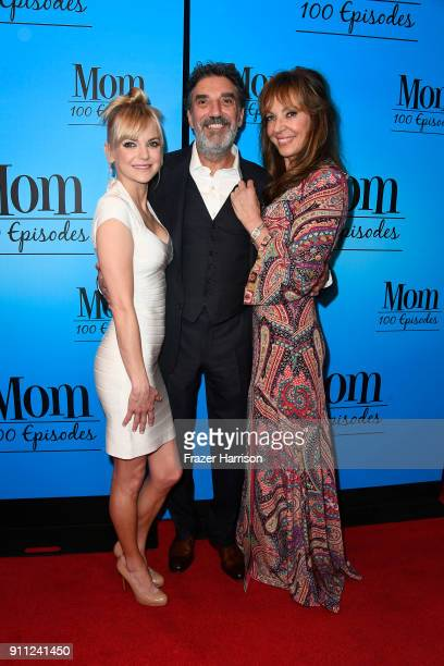 Anna Faris Chuck Lorre and Allison Janney attend CBS And Warner Bros Television's 'Mom' Celebrates 100 Episodes at TAO Hollywood on January 27 2018...