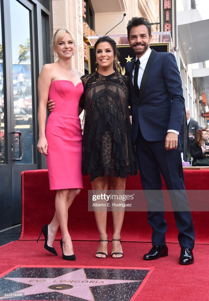 Anna Faris, Eva Longoria and Eugenio Derbez attend a ceremony honoring Eva Longoria with the 2,634th Star on the Hollywood Walk of Fame on April 16, 2018 in Hollywood, California.