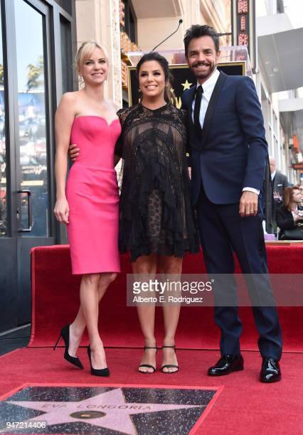 Anna Faris Eva Longoria and Eugenio Derbez attend a ceremony honoring Eva Longoria with the 2634th Star on the Hollywood Walk of Fame on April 16...