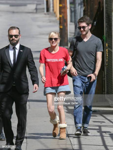 Anna Faris is seen arriving at 'Jimmy Kimmel Live' on April 11 2018 in Los Angeles California