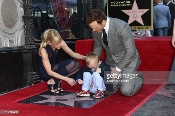 Anna Faris Jack Pratt and Chris Pratt attend a Ceremony Honoring Chris Pratt With Star On The Hollywood Walk Of Fame on April 21 2017 in Hollywood...