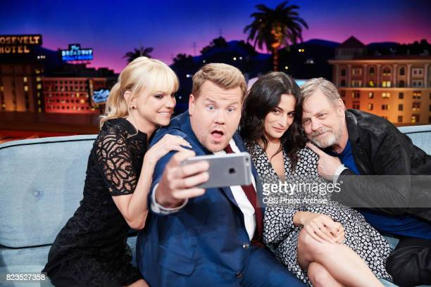 Anna Faris Jenny Slate and Mark Hamill chat with James Corden during 'The Late Late Show with James Corden' Monday July 24 2017 On The CBS Television...