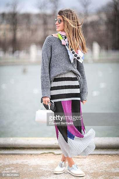 Anna Fasano is wearing an Armani bag after the Chloe show during Paris Fashion Week Womenswear Fall Winter 2016/2017 on March 3 2016 in Paris France